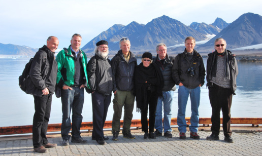 From the left: Cato Wille, Tor Ulleberg, Nils Chr. Stenseth, Leif Lømo, Reidun Sirevåg, Tore Vorren, Helge Holden and Odd Stokke Gabrielsen.